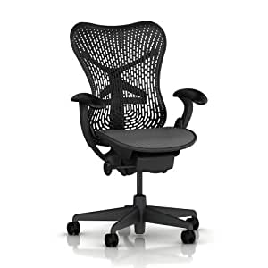 "Mirra Chair by Herman Miller: Basic - Pneumatic Lift - Stationary Arms - Standard Tilt - Fixed Seat Depth - 2.5"" Black Carpet Casters - Graphite Frame/Graphite Seat"