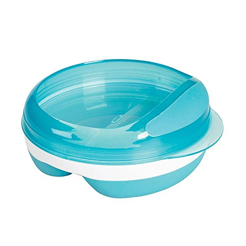 OXO Tot Divided Feeding Dish with Removable Ring and Storage Lid - Aqua (Section Bowl With Lid compare prices)