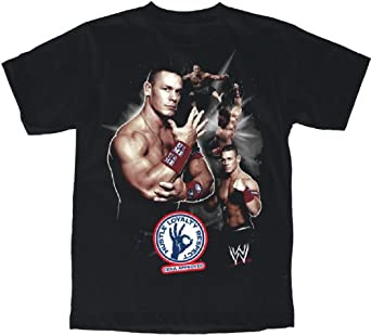 WWE John Cena collage Boy's T-shirt, Black, XL