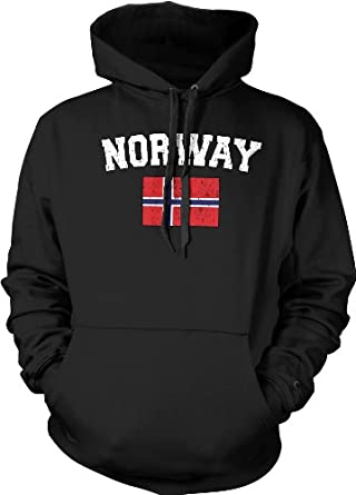 Norway Flag International Soccer Sweatshirt, Norwegian National Pride Mens Pullover Hoodie, Small, Black