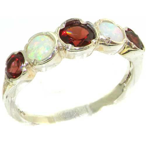 Genuine Solid Sterling Silver Natural Garnet & Fiery Opal Womens High Quality Ring - Size 11.75 - Finger Sizes 4 to 12 Available - Suitable as an Anniversary ring, Engagement ring, High Quality ring, or Promise ring