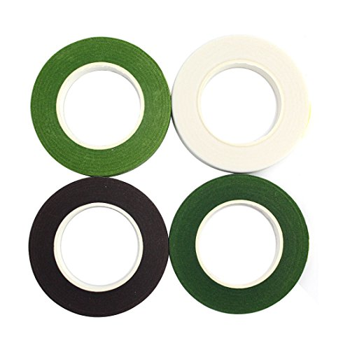 decora-4-rolls-1-2by-90-floral-tape-for-stem-wrap-dark-green-green-coffee-white