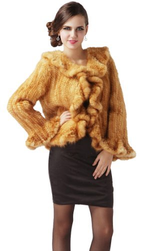 Queenshiny Women's 100% Real Genuine Mink Fur Knitted Coat Jacket With Mink Trim And Collar-Yellow-XL(18)