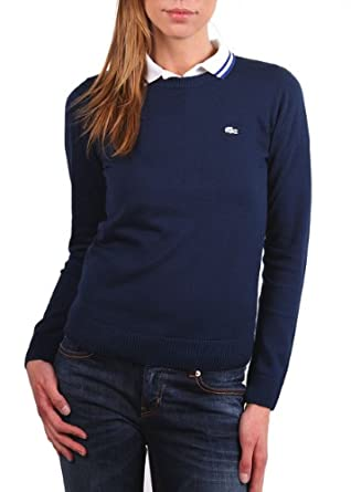 """Lacoste Live femme pull over """"TRICOT"""" navire/ dark bleu taille L"""