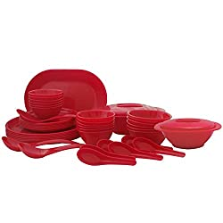 Incrizma Plastic Square/Round Plate and Bowl Set, 44-Pieces, Red