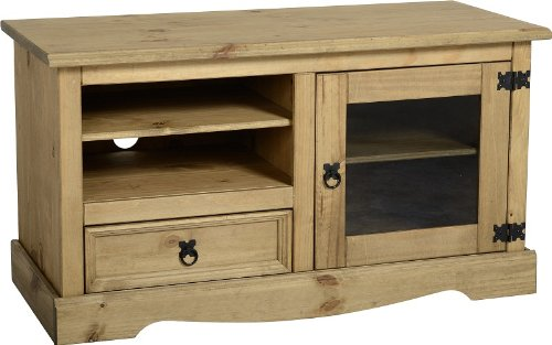 Tv Cabinet Entertainment Unit Solid Mexican Pine Glass