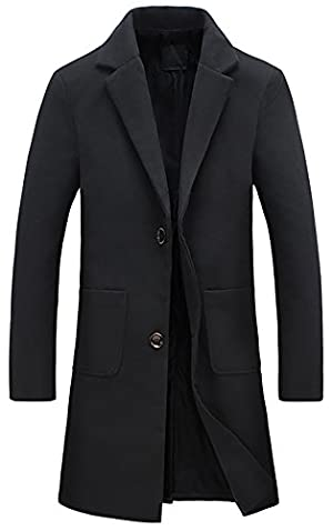 QZUnique Men's Fashion Slim Fit Lapel Collar Casual Warm Wool Coat US XL