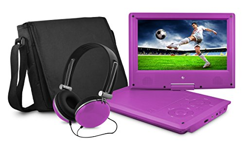 Best Buy! DVD Player, Ematic 9 inch Swivel Purple Portable DVD Player with Matching Headphones and B...