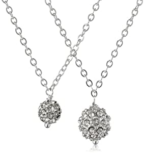 "Sterling Silver Chain and Silver Color Pave Rhinestone Bead Mother-Daughter Necklace Set, 18"" and 13"""