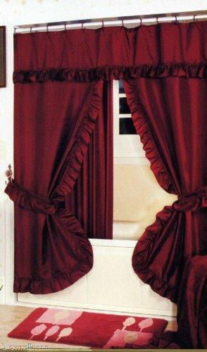 burgundy and gold shower curtain. BURGUNDY DOUBLE SWAG SHOWER CURTAIN AND LINER Burgundy Shower Curtains