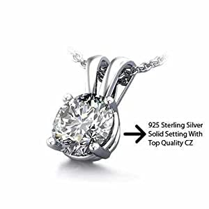 1.50 Carat Sterling 925 Silver Solitaire Pendant Slider. Top Quality Cubic Zirconia Stones.