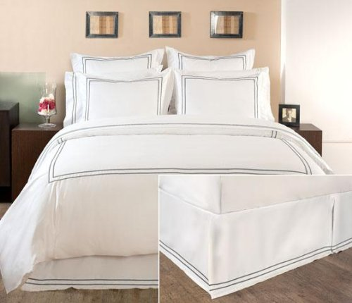 Home Decorators Collection Hotel Embroidered Box Pleat Bedskirt, Queen, Grant Gray
