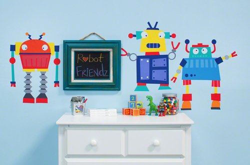Oopsy Daisy 28 by 35-Inch Peel and Place Robots Rule by Vicky Barone, Small