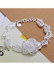 Fashion 925 Silver Elegant Bracelets Hollow Flower Bangle Jewellery for Womens+Gift Bag