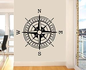 Wandtattoo aus vinyl motiv klassischer kompass - Wandtattoo kompass ...