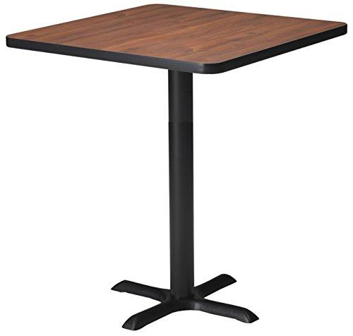 Mayline Bistro Series Square Bar Height Table with Black Base, Regal Mahogany Laminate/Black T-mold/PVC/Black Paint, 30