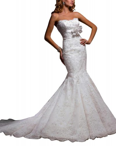 GEORGE BRIDE Trendy Mermaid Lace Over Satin Chapel Train Bridal Dress Size 8 White