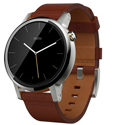 Motorola Moto 360 2nd Gen Smartwatch for Most Apple iOS and Android Cell Phones (Men's, 42mm, Silver w/Cognac Leather Band)