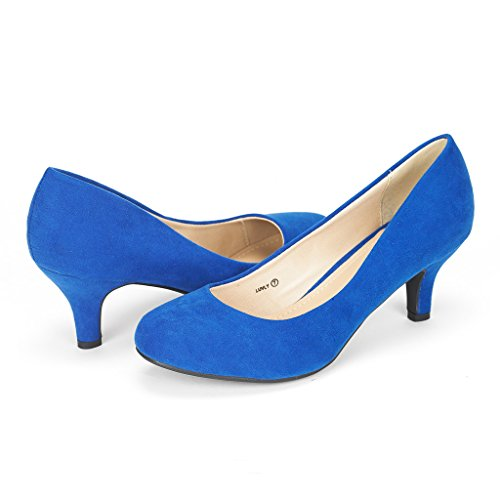 DREAM PAIRS LUVLY Women's Bridal Wedding Party Low Heel Pump Shoes Royal-Blue Size 9.5