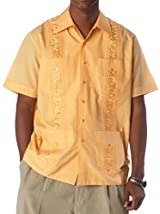 Embroidered cotton blend guayabera color orange.