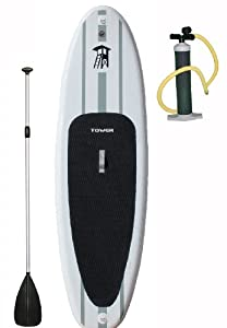 "Tower Adventurer 9'10"" Inflatable SUP (6"" Thick) with Pump and 3-PC Adjustable Paddle from Tower Paddle Boards"