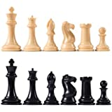 "Premier Tournament Chess Pieces with 4 1/8"" King - Natural and Black"