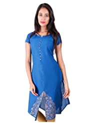 Casual Cotton Blue Kurta With Golden Prints From ESTYLe