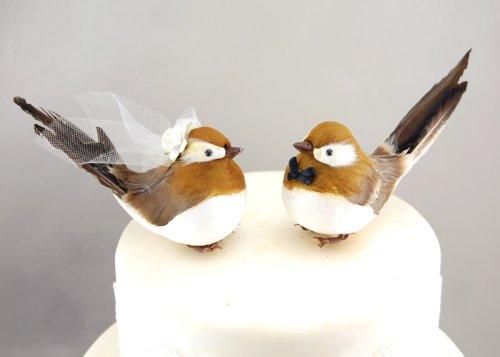 """Chipper Mésange gâteau: """"marié et mariée"""" Love pour gâteau de mariage à oiseau Marron Doré et Sépia"""