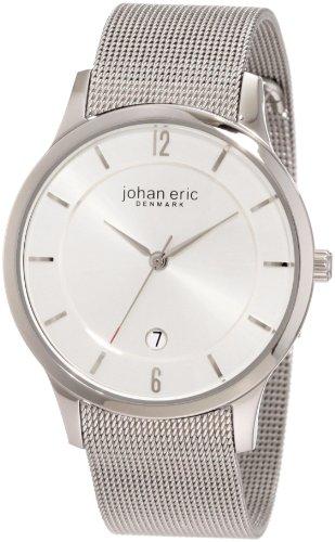 Johan Eric JE2000-04-001 - Reloj analógico de cuarzo para hombre con correa de acero inoxidable, color plateado