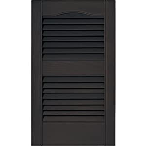12 in. Vinyl Louvered Shutters in Musket Brown - Set of 2 (12 in. W x 1 in. D x 39 in. H (3.6 lbs.))