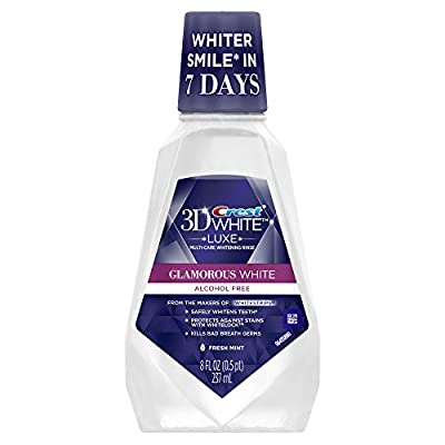 Crest 3D White Glamorous White Multi-Care Whitening Fresh Mint Flavor Mouthwash 8 Fl Oz (Pack of 6)