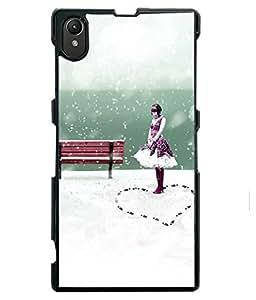 PRINTVISA Happy Girl Premium Metallic Insert Back Case Cover for Sony Xperia Z1 - D6096
