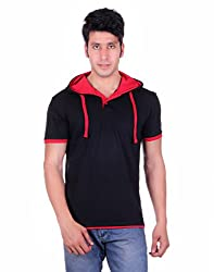 Vivid Bharti Collar Solid Hood Style Cotton T-shirt (X-Large)