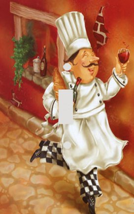 Italian Chef with Wine Decorative Switchplate Cover