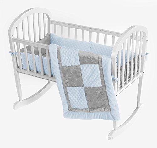 Baby Doll Croco Minky Cradle Bedding Set, Blue/Grey