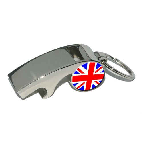 Britain British Uk Flag - Country - Plated Metal Whistle Bottle Opener Keychain Key Ring