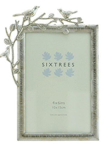 """'Stile Art Deco cornice per una 15,24x 10,16cm Immagine in metallo anticato, argento, 6""""X 4(150mmx100mm)"""