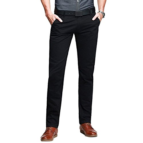 Mens Casual Slim-Tapered Flat-Front Pants Black Lable 31