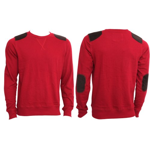Brave Soul Mens Long Sleeve Casual Sweatshirt/Jumper Top (S - 34inch - 36inch) (Red)