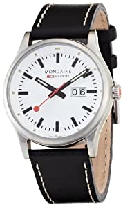 Mondaine Men's A669.30308.16SBB Night Vision Big Date Leather Band Watch