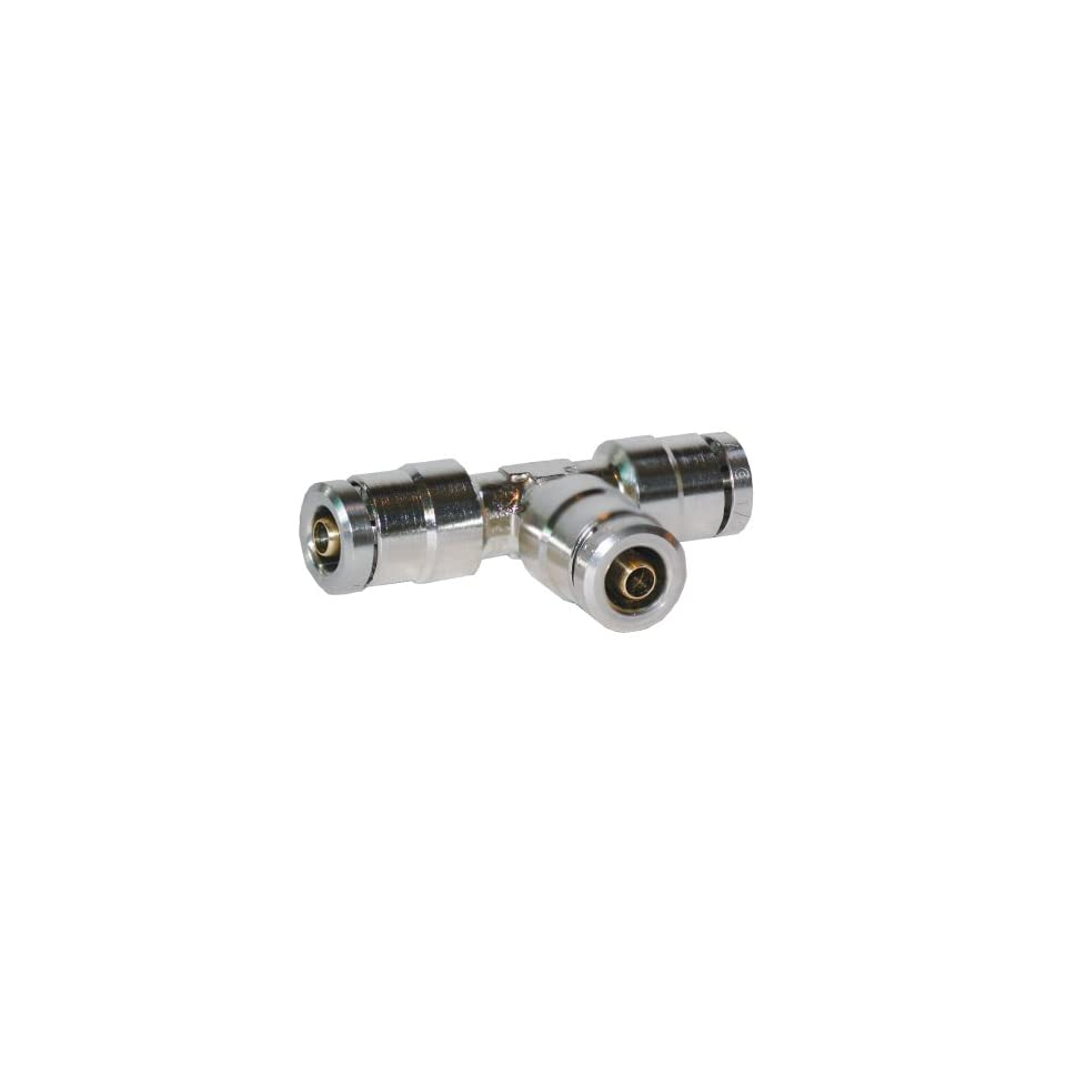 Brennan PCDT2603 04 04 04 B Nickel Plated Brass Push to Connect Tube Fitting, Tee, 1/4 Tube OD