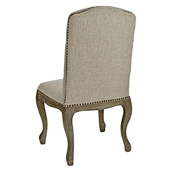 Best Selling Tufted Fabric Weathered Hardwood Dining Chair, Beige, Set of 2