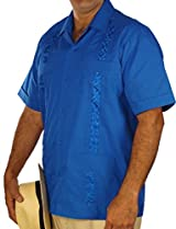 Embroidered cotton blend guayabera color snorkel blue.