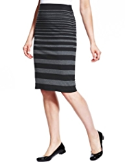 M&S Collection Striped Knee Length Pencil Skirt