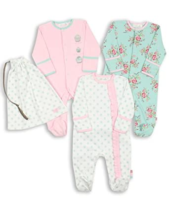 The Essential One - Baby Girl Pack of 3 Floral Sleepsuits-0-3 Months ESS75