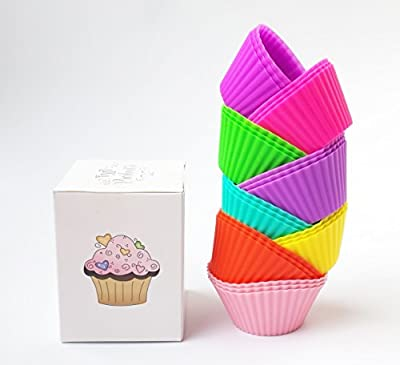 VMV Products - Premium Silicone Baking Cups - 24 Reusable Cupcake Liners - Available in 8 Vibrant Colors - Cupcake Holders Gift Set.