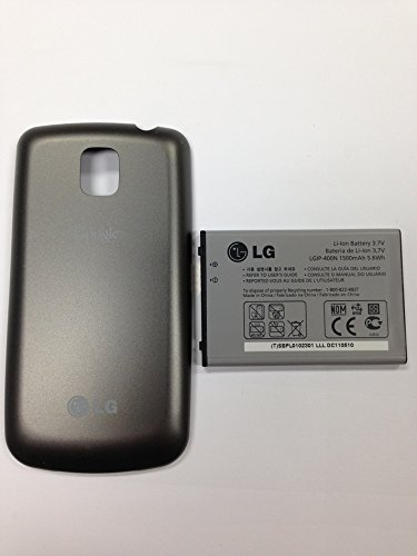 New OEM LG P500 Optimus One / P509 Optimus T Thrive / LGIP-400N Battery and Grey Titanium Battery Door o4l Back Cover Combo (Boost Mobile Phone Lg F7 compare prices)