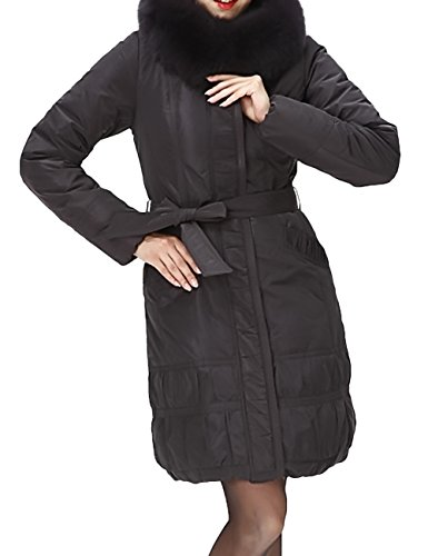 Brds Womens Luxury Puffy Empire Line Quilted Long Down Jacket Coat with Fox Fur Trim<br />