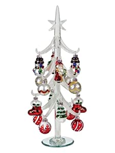 "14"" Glass Artificial Table Top Christmas Tree with Decorative Ornaments"