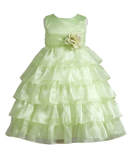 Dara Ruffle Tiered Organza Flower Girl Dress With Sash For Infants Fancy Dress Color: Lime Dress Size: 6M-9M (6-9 Months) front-691751